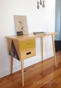 Mid Century Desk - color block drawer and geometric design on the side.
