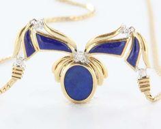 Vintage 14 Karat Yellow Gold Diamond Lapis Lazuli Drop Pendant Necklace Fine Jewelry $795