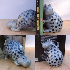 hand modelled ceramic hippos made by Jennifer Robinson. Pottery Animals, Ceramic Animals, Clay Animals, Ceramic Pottery, Pottery Art, Ceramic Art, Clay Art Projects, Sculptures Céramiques, Hand Built Pottery