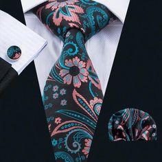 Floral Striped Classic Mens tie Handkerchief Set Man Silk ties Wedding Navy Blue