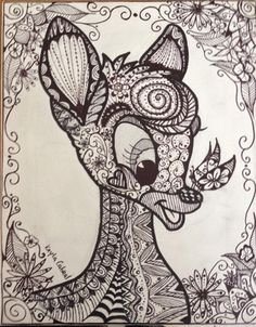 Drawing Uploaded By Erzanightwalker On PaigeeWorld Zentangle Doodle Bambi