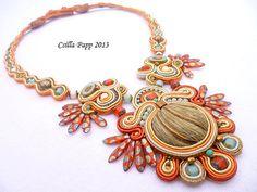 Soutache necklace soutache rust gold burnt orange by CsillaPapp
