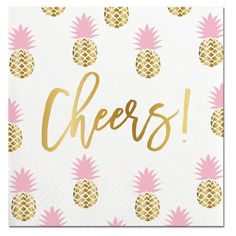 Gold foil and pink pineapple party napkins