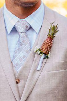 Pineapple wedding boutonniere for groom or groomsmen - baby pineapple - tropical beach wedding