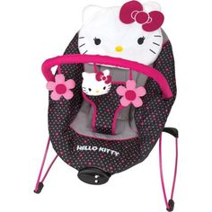Baby Bouncer Hello Kitty Musical Soothing Safety Seat with Harness Plush Toys and Music Box by Baby Trend Hello Kitty Nursery, Hello Kitty Baby Shower, Hello Kitty Baby Stuff, Baby Bouncer, Baby Swings, Baby Alive, Baby Needs, Reborn Babies, Baby Gear