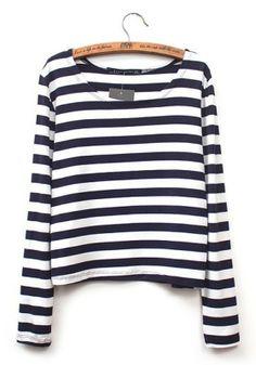 Black Striped Print Round Neck Cotton Blend T-Shirt