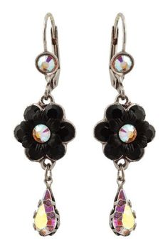 Michal Negrin Dangle Earrings with Hand-Painted Flowers, Tear Drops, Black and White Swarovski Crystals - Hypoallergenic, Made in Israel