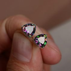 Mystic Topaz Earrings Stud Sterling Silver by KnightJewelry Topaz Earrings, Stud Earrings, Gemstone Jewelry, Sterling Silver Jewelry, Rainbow Topaz, Jewelry Accessories, Nice Jewelry, Mystic Topaz, Beautiful Gift Boxes