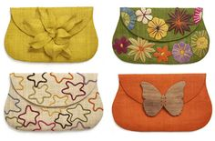 Fabric clutch purses. All made from renewable raw materials! The wooden butterfly is adorable.