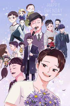 "duckhymne: ""Always be happy and healthy, and stay awesome Kim Jongdae~! Chanbaek Fanart, Kpop Fanart, Kpop Exo, 5 Years With Exo, Exo Fan Art, Kpop Drawings, Xiuchen, Mamamoo, K Idols"
