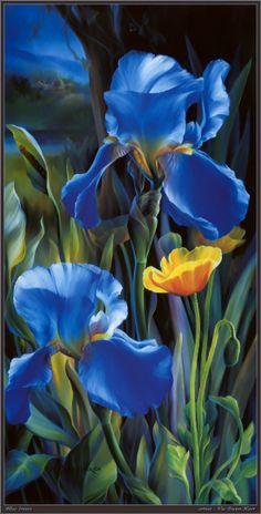 Vie Dunn-Harr blue irises floral art