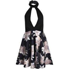 Boohoo Kim Contrast High Neck Skater Dress | Boohoo (67 BRL) via Polyvore featuring dresses, slip dress, high neck dress, maxi dresses, bodycon party dresses e sequin dresses