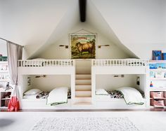 18 Admirable Shared Children Bedrooms To Amaze You : Contemporary White Shared Children Bedroom Design with Two White Bunk Beds Separated by...