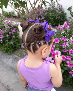 Image may contain: one or more people flower plant and exterior Easy Toddler Hairstyles, Easy Little Girl Hairstyles, Girls Hairdos, Girls Natural Hairstyles, Baby Girl Hairstyles, Kids Braided Hairstyles, Princess Hairstyles, Toddler Hair Dos, Braids For Kids