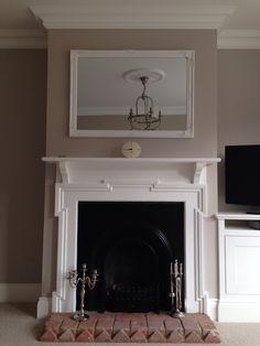 Victorian fireplace, over mantle mirror, farrow & ball elephants breath