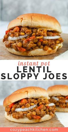 These easy vegan Lentil Sloppy Joes are made in the Instant Pot with just a few simple and inexpensive ingredients Freezer-friendly and kid-friendly these sandwiches are the perfect healthy comfort food vegan sloppyjoes Whole Food Recipes, Cooking Recipes, Healthy Recipes, Instapot Vegan Recipes, Vegetarian Recipes Instant Pot, Cooking Tools, Kid Cooking, Cooking Cake, Cooking Bacon