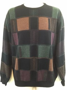 Stay warm in this mens #StCroix pullover wool sweater this winter. Geometric Squares in Black Brown and Green. Made in the USA!