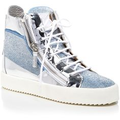 Giuseppe Zanotti Lace Up High Top Sneakers ($525) ❤ liked on Polyvore featuring shoes, sneakers, cielo, laced shoes, giuseppe zanotti, giuseppe zanotti high tops, hi tops and high top shoes