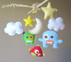 Baby Mobile - Monster Mobile - Nursery Monster - Aliens Mobile - Pick your colors :). $120.00, via Etsy.