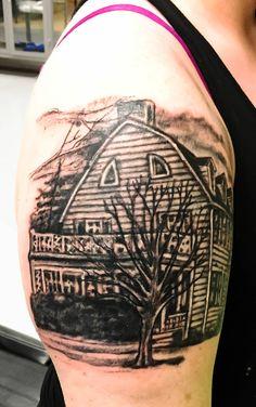 Haunted House amityville horror tattoo #hauntedhouse #amityville #tattoo #inked #realism #horror