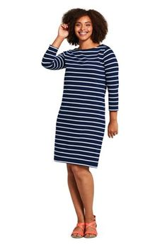 37fe2a768611 Women s Plus Size 3 4 Sleeve Stripe Heritage Jersey Shift Dress from Lands   End