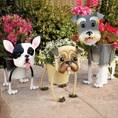 Outdoor Planters Fun Dogs - You Pick One - Schnauzer French Bulldog Pug Yorkie Clay Flower Pots, Clay Pots, Pergola Pictures, Clay Pot Crafts, Outdoor Garden Furniture, Garden Planters, Outdoor Planters, Planter Pots, Yard Art