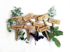 Herb Garden Plant Markers / Set of 10 Wood Engraved Labels via Etsy