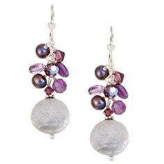 white coin pearls with purple peacock pearl earrings