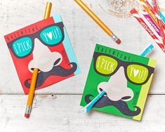 Items similar to Funny Nose Picking Valentines Classroom Pencil Holder valentines mustache glasses valentine card Valentine's day pixie sticks I pick you on Etsy Diy Valentines Cards, Valentines For Boys, Valentines Day Decorations, Valentine Day Crafts, Funny Valentine, Valentine Ideas, Valentines Hearts, Homemade Valentines, Valentine Box