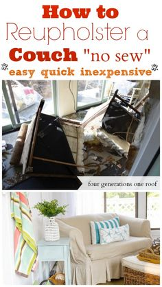 NO SEW: how to reupholster a couch @Four Generations One Roof