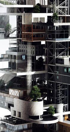 Vertical Street/City by Sergey Prokofyev, via Behance