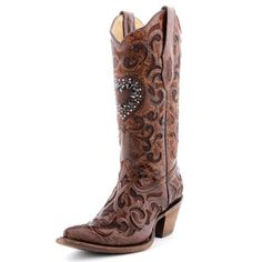 Mother-of-Bride: Corral Cognac Crystal Heart Boot....