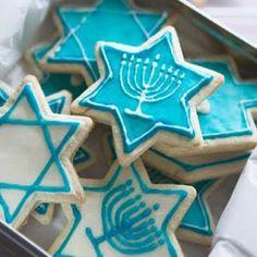 Delicious Hanukkah recipes! biscoitos com temas judaicos em azul
