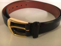 Johnston & Murphy 5540 Black Aniline Kipskin Shoulders Belt Men's USA Size 34  #JohnstonMurphy