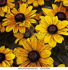 art floral vintage colorful background with vibrant yellow and gold flowers - stock photo