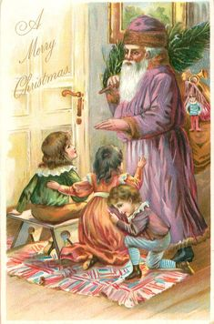A MERRY CHRISTMAS three children sit & kneel before purple robed Santa carrying tree & toys - TuckDB