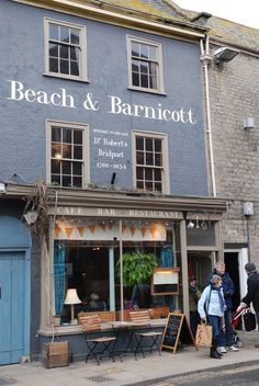 Beach and Barnicott in Bridport Dorset - Fabulous, quirky café/restaurant/bar in a grade II-listed building Cafe Exterior, Craftsman Exterior, Exterior Siding, Exterior Signage, Exterior Colors, Restaurant Signs, Pub Signs, Las Vegas, Beach Cafe