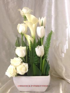 Small ceramic container filled with fresh flowers in a white theme. Tulips, Calla lillies, Roses surrounded by cut grass to form a small picket fence with umbrella fern throughout the arrangement to form a garden. Just beautiful. Seasonal flowers will be substituted. Choose your colour theme