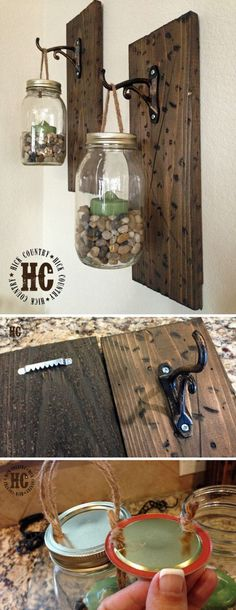 DIYs for Your Rustic Home Decor Rustic DIY Mason Jar Wall Lanterns.make similar but put faux flowers in instead for floor bathroomRustic DIY Mason Jar Wall Lanterns.make similar but put faux flowers in instead for floor bathroom Natural Home Decor, Easy Home Decor, Handmade Home Decor, Cheap Home Decor, Pot Mason Diy, Mason Jar Crafts, Mason Jars, Mason Jar Sconce, How To Make Lanterns