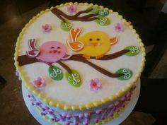 Little birds theme first birthday cake