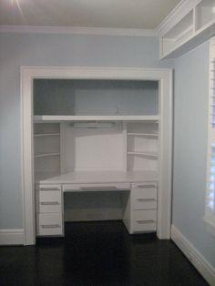 New Closet Office Nook Vanities 39 Ideas Home Office Closet, Closet Desk, Closet Vanity, Office Nook, Kid Closet, Guest Room Office, Closet Bedroom, Closet Space, Kids Bedroom