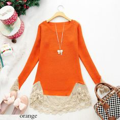 Colorful Slim Vintage Lace Hem Sweater Stitching Off Knitting Wool Clothes | eBay