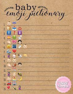 Baby Shower Emoji Pictionary. Baby shower pictionary. Emoji Pictionary. Baby shower games. Rustic baby shower games.