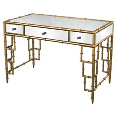 Pairing a bamboo-inspired frame and mirrored surface, this writing desk brings eye-catching style to your study or home office.  Pro...