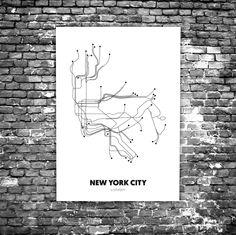 New York City C2 - Acrylic Glass Art Subway Maps (Acrylglas, Underground)
