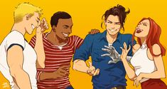 Steve Rogers, Sam Wilson, Bucky Barnes and Natasha Romanoff having a good time.