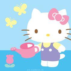 Hello Kitty Watering a Flower