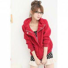 $6.16 Preppy Style Zipper Design Bottom Drawstring Solid Color Hooded Long Sleeve Fleece Hoodie For Women