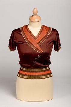 Blouse, Cosineet, c. 1930 vintage fashion style color photo print ad museum 30s art deco modern brown orange button shirt flapper gatsby