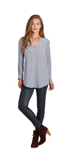 2 pocket silk blouse - perfect with jeans or leggings